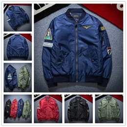 Wholesale military uniform army black - 2017 Men Bomber Flight Pilot Jacket Coat Thin Nasa Navy Flying Jacket Military Air Force Embroidery Baseball Uniform Army Green Black