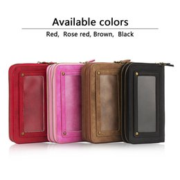 Wholesale 5s Battery Case - Retro Pattern Double Zipper Multifunction big Leather Wallet Holster case with Mirror for iPhone 7 7plus 6 6s plus 5s SE