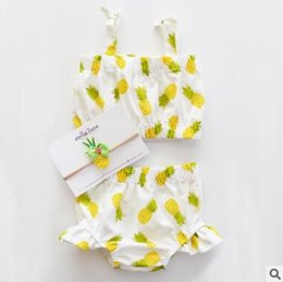 Wholesale Chinese Outfits - Girls Pineapple Outfit Baby Girls Clothing Set Princess Newborn Baby Girl Lace-Up Pineapple Tops Floral Shorts Pants Outfits Ins Clothes 748