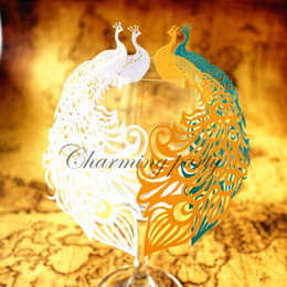 Wholesale Wedding Place Decoration - 50pcs Laser Cut Hollow Out Paper Peacock Wedding Decorations Place Name Cards Elegant Wine Glass Cards