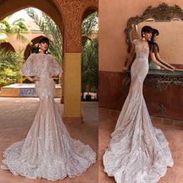 Wholesale train shawl wedding dress - Crystal Design Mermaid Wedding Dresses With Shawl Sweep Train Lace Applique Beach Wedding Gown Elegant Sleeveless Plus Size Bridal Dress