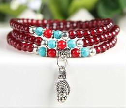 Wholesale Korean Women Beaded Bracelets - Imitate garnet fashion strands charms beans Korean single bracelet buddhist prayer simple for men and women gift GL-C00