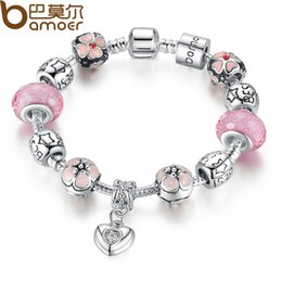 Wholesale Murano Glass Pendants Snake - Wholesale-BAMOER 925 Silver Charm Bracelet with Heart Pendant & Cherry Blossom Charm Pink Murano Glass Beads Friendship Bracelet PA1459