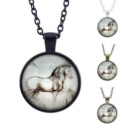 Wholesale Christmas Sketches - New Sketch Steeds Necklace Vintage Timestone Horses Circle Pendant Male Female Adjustable Chain Best Collection Gift