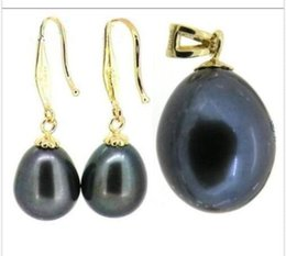 Wholesale Earrings South Sea Pearl Necklaces - 11X13MM TAHITIAN DROP BLACK SOUTH SEA PEARL EARRING & PENDANT 14K YELLOW GOLD