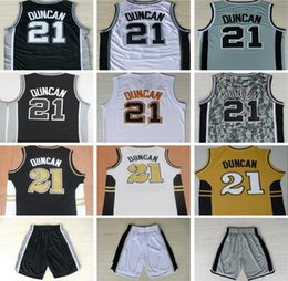 Wholesale Cheap Camo Uniforms - Cheap Mens #21 Tim Duncan Jersey Uniform Shirt Team Black White Gray Camo Stitched Colllege Tim Duncan Basketball Jerseys Fast Free Shipping