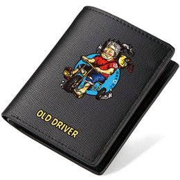 Wholesale Drivers Cartoons - Old driver wallet Funny purse Leisure short long cash note case Money notecase Leather burse bag Card holders