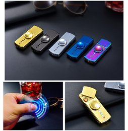Wholesale E Cigarette Led Light - New Design Metal Hand Spinner Lighter E-Cigarette lighter With LED Lights 3 in 1 Function For Adults Press release Fidget Toys