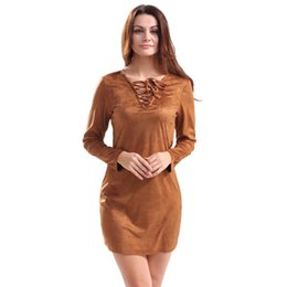 Wholesale Solid Color Twill Fabric - Spring Suede Fabric Women Dress Slim Fashion V-Neck Solid Color Elegant 2017 New Arrival Hot Knee-Length Dress