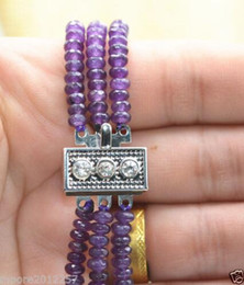 Wholesale Faceted Amethyst Beads - Pearls and jade Tibetan silver jewelry >2X4mm FACETED GENUINE TOP NATURAL AAA 3 STRAND Amethyst BEADS NECKLACE