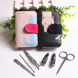 Wholesale Pink Clippers - 6pcs in 1 Portable Stainless steel Manicure Set Nail Art Care Pedicure Beauty Tools Nail Clipper Cutter Scissor Kit Cat Print Case Gift
