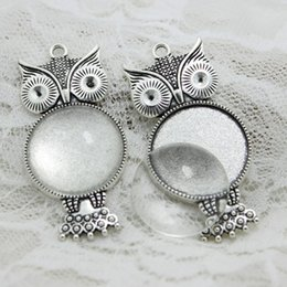 Wholesale Vintage Glass Charms Pendants - 5set Antique silver Metal crown owl Fit 25mm Round Cabochon Pendant Setting Vintage Blank Charms + Clear Glass Cabochons A4119-1