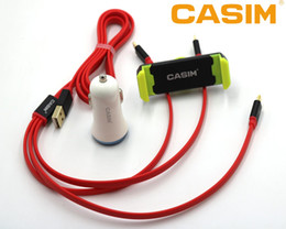 Wholesale Cell Phone Car Holder Charger - CASIM 3 in 1 Set 2USB Car Charger+3 in 1 Cable +Car holder TPE material Micro+For iphone+Type-C Basically apply with any cell phone