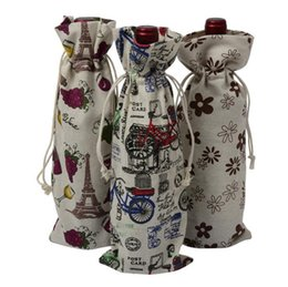 Wholesale Cloth Wine Bottle Covers - Wine Bottle Gift Bag Cloth Printed Drawstring Bags Drawstring Red Wine Bottle Gift Cover Xmas Decoration LJJO3685