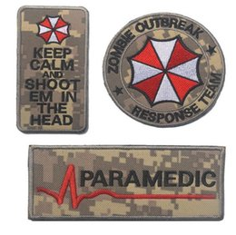 Wholesale Fabric Armbands - 3pcs Embroidery Umbrella Patch 3D Tactical Zombie Outbreak Patches Hook And Loops Morale Armband ACU CP Combat Paramedic Badge