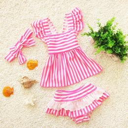 Wholesale Sexy Butterfly Bikini - Baby swim suits Stripe Sexy Bikini Sets + Butterfly Headband Girls Bathing Suits Striped Cute 3pcs Swimwear sets C724