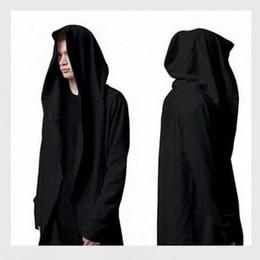 Wholesale Cardigan Styles For Men - New Hoody Sweatshirts Cloak Black Long Sleeves Jacket Men Shawl Outwear Streetwear Style Hoody Men's Plus Long Hoodies For Men Plus Size 5XL