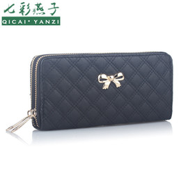 Wholesale Double Zipped Purses - Wholesale- 2017 Double Zip Clutch Fashion Women Leather Wallet Purse Coin Card Bag Bowknot Plaid Long WalletsTop Quality Free Shipping N526