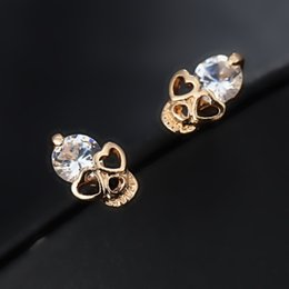 Wholesale Rhinestone Skull Earrings - 2016 New Arrival Fashion Jewelry High Quality CZ Diamond Rhinestone Crystal Skull Stud Earrings For Women e017