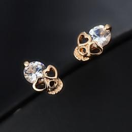 Wholesale Earrings Fashion New Arrival - 2016 New Arrival Fashion Jewelry High Quality CZ Diamond Rhinestone Crystal Skull Stud Earrings For Women e017