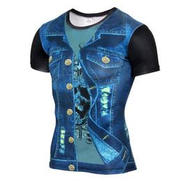 Vendita calda 3D T Shirt uomo vestito falso uniforme stampa manica corta camicia di compressione pelle stretta O-Collo Casual divertente magliette Top da