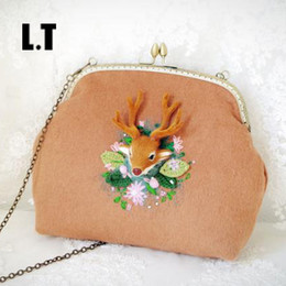 Wholesale Shabby Chic Bags - Wholesale- Handmade Wool 3D Deer Floral Crochet Straw Shoulder Bag Female Christmas Gift Retro Folk Shabby Chic Stylish Kiss Lock Handbag