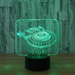 Wholesale Battery Powered Lamps - New 3D Star Trek Illusion Night Lamp 7 RGB Colorful Lights USB Powered with AA Battery Bin Touch Button Wholesale Dropshipping