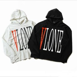 Wholesale Hoodie Sweat Shirts - 2017 new hip hop raw cut Vlone hoodie for men and women hoody sweat shirt Black and white men hoodies for