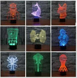 Wholesale Elephant Led - New Fashion Novelty Star Wars Jedi Knight Dolphin Elephant 3D colorful gradient LED Child Kids Baby nightlight Lamp Gifts Bedroom Home Decor