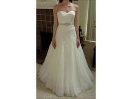 Wholesale Dress 88 - Timeless Romanticism Lace Sweetheart A Line Appliques Beaded Belt Ruched Wedding Dresses COR-88 Vestido De Noiva