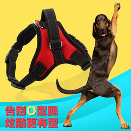 Wholesale Pet Vest Collar - New hot Medium and large dog harness vest Reflective tape yarn Breathable and comfortable mesh pet dog leash big dog harness