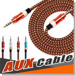 Wholesale Wholesale For Ipods - Wholesale AUX Cable 3.5mm Nylon Braided Tangle-Free Auxiliary Audio Cable 5ft 1.5m for Headphones iPods iPhones iPads Home Car Stereos