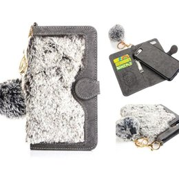 Wholesale Cover Grey Hair - Fashion Rex Rabbit Fur Filp Cover Wallet Case With Card Solts Plush Warm Hair Ball For iPhone 7 6 6s plus OPP BAG