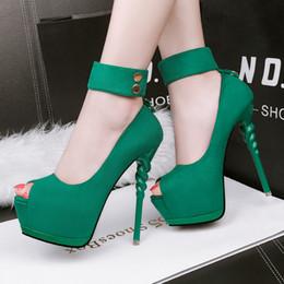 Wholesale Burgundy Peep Toe Pumps - Fashion ultra high platform nightclub dress shoes sexy peep toe 14cm high stiletto heel pumps 5 colors 1516-1