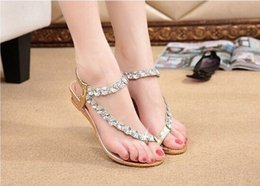 Wholesale Gold Low Platform Shoes - Women Summer Sandals Fshion Blingbling Crystal Platform Wedges Shoes Woman Golden Sliver Slip On Flip Flops