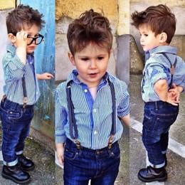 Wholesale Shirt Denim Jeans Baby - New Boys Clothes Suit Gentleman Autumn long-sleeved striped shirt + Strap jeans 2pcs set baby kids children\'s suit denim pants