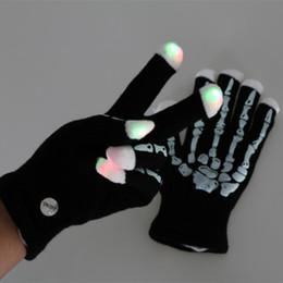 Wholesale Rave Halloween Costumes - Led luminous Skeleton Rave Gloves Flashing Light Finger Lighting Christmas Gift Magic Glitter Halloween Party Gloves Costume Novelty Toy