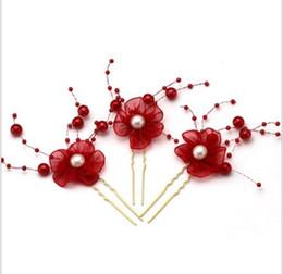 Wholesale Agate Pin - Multicolor rhinestone hand flower arrangement bride pin head flower Korean plate hair accessories wedding headdress 6 pack
