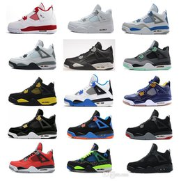 Wholesale Pure Races - Air retro 4 men Basketball shoes Military Motosports blue Alternate 89 Pure Money White Cement Royalty bred Fire Red Black Cat oreo sneakers