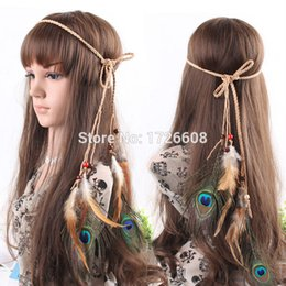 Wholesale Real Natural Hair Feathers - Wholesale- Wholesale real natural feather headwear long braided hair extensions peacock fashion hair accessories for women girl hairband
