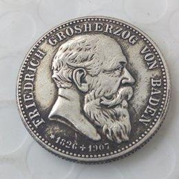 segni d'ottone Sconti 1907 Stati tedeschi BADEN 2 Mark Argento copia Coin Brass Craft Ornaments replica monete accessori per la decorazione della casa