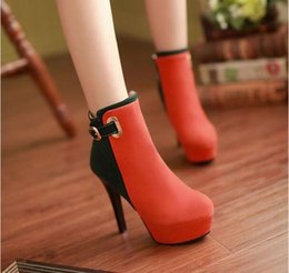 Wholesale Leather Sex Ladies - Women's Suede High Heel Fashion Ankle Boots Platform Sexing Stiletto Shoes Sexy Lady Women Thigh High Autumn Boots Shoes