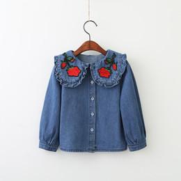 Wholesale Baby Girl Denim Blouse - Baby Girls Denim Ruffles Shirts Kids Girls Embroidery Floral Blouse 2017 Girls Fashion Tops kids Autumn Clothing