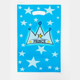 Wholesale Boys Party Bags - Wholesale- Prince crown Kid Boy Girl Baby Birthday Party Decoration Kits Supplies Favors Loot Bag Gift Bag 12pcs lot