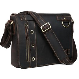 "Wholesale Tiding Leather Bag Men - Wholesale-TIDING Genuine Leather Messenger Shoulder Bags Briefcase Mens casual style 13"" laptop bag 1006"