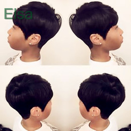 Wholesale Burmese Colors - Pixie Cut short human hair lace wigs glueless lace front 100 human hair wigs for african americans Best brazilian hair wigs
