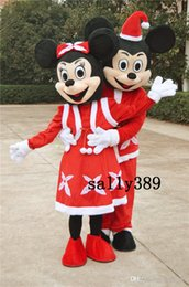 Wholesale Carnival Costumes Couples - 2017 new 2Pcs Couple Mickey & Minne Mouse Mascot high-quality adult size Cartoon Costume In-stock fancy dress party carnival free shipping