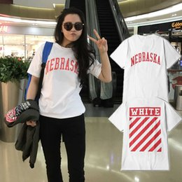 Wholesale Rock Roll Shirts - Off White Streets T-shirt Men Hip Hop Black White Skateboard Letters Short Sleeve Kanye West Rock And Roll Mens T Shirt Free Shipping