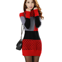 Wholesale Ladies Plus Size Winter Clothes - 2017 Woman Winter Autumn Knitted Dress Turtleneck Long Sleeve Lady Sweater Dress Sweaters and Pullovers Plus Size Women Spring Clothing 044