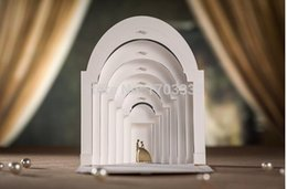 """Wholesale Cards Two Folds - 3D White """"bride and groom love in the castle"""" Two-fold Wedding Invitations Cards 100PCS Customizable Blank pages #EW42"""